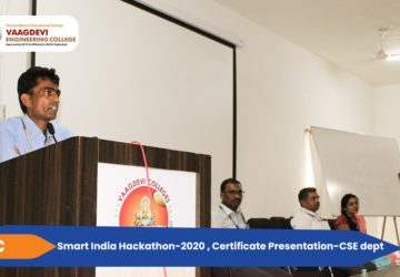 Smart India Hackathon-2020, Certificate Presentation - CSE dept