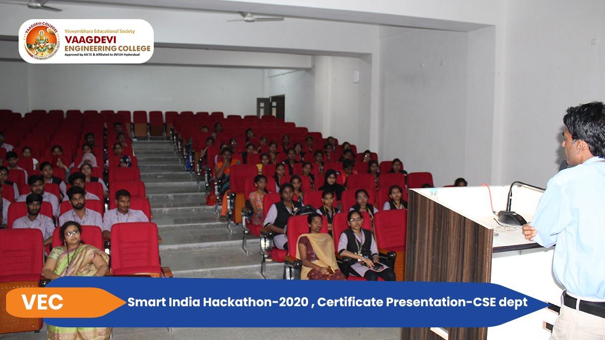 Smart India Hackathon-2020, Certificate Presentation - CSE dept