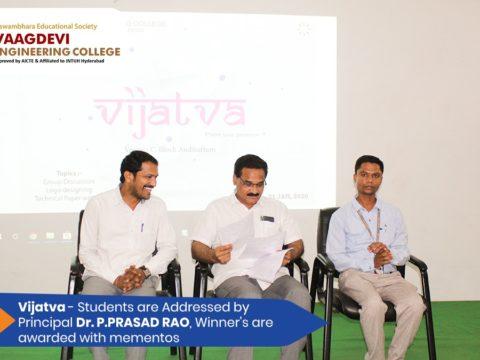 Vijatva - Students are Addressed by Principal Dr. P. Prasad Rao, Winner's are awarded with mementos