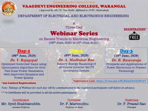"Webinar Series on ""Recent Trends in Electrical Engineering"""