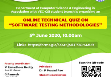 "Online technical quiz on ""Software Testing Methodologies"" on 5th June"