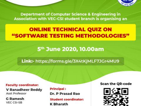 "Online technical quiz on ""Software Testing Methodologies"" on 5th June"